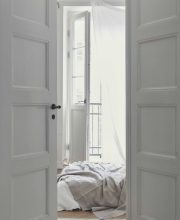 White Minimal bedroom with Original Double Doors